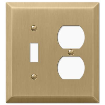 Metallic 2 Gang 1-Toggle and 1-Duplex Steel Wall Plate - Brushed Bronze