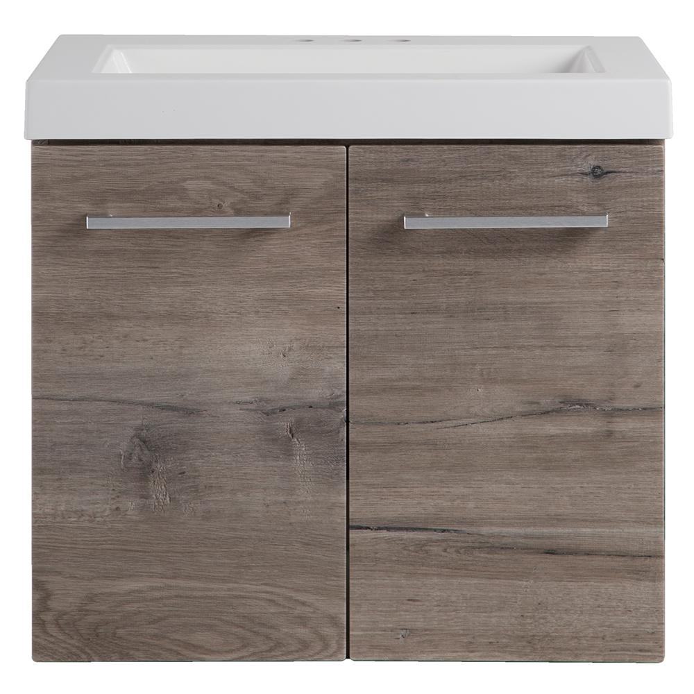 Domani Stella 24 In W X 19 In D Wall Hung Bath Vanity In White Washed Oak With Cultured Marble Vanity Top In White With Sink