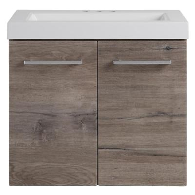 Stella 24 in. W x 19 in. D Wall Hung Bath Vanity in White Washed Oak with Cultured Marble Vanity Top in White with Sink