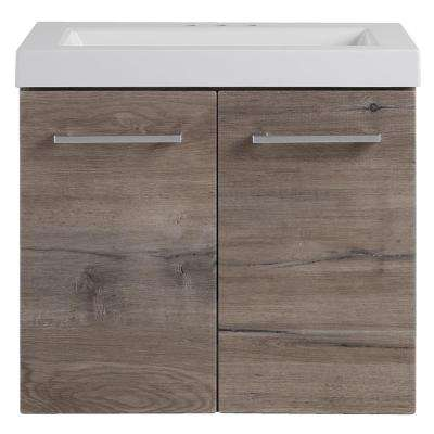 Stella in 24.50 in. W x 18.75 in. D Wall Hung Vanity Washed Oak with Cultured Marble Vanity Top in White with Basin