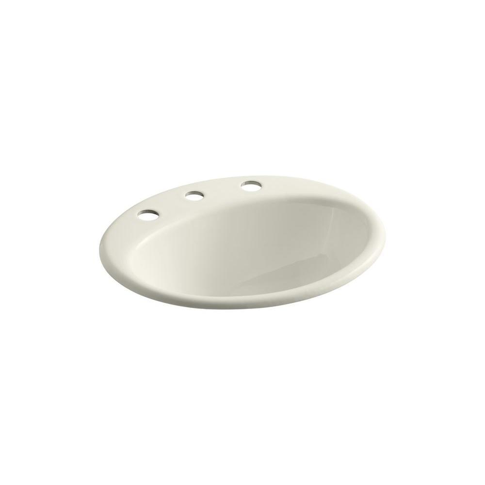 Farmington Drop-In Cast Iron Bathroom Sink in Biscuit with Overflow Drain