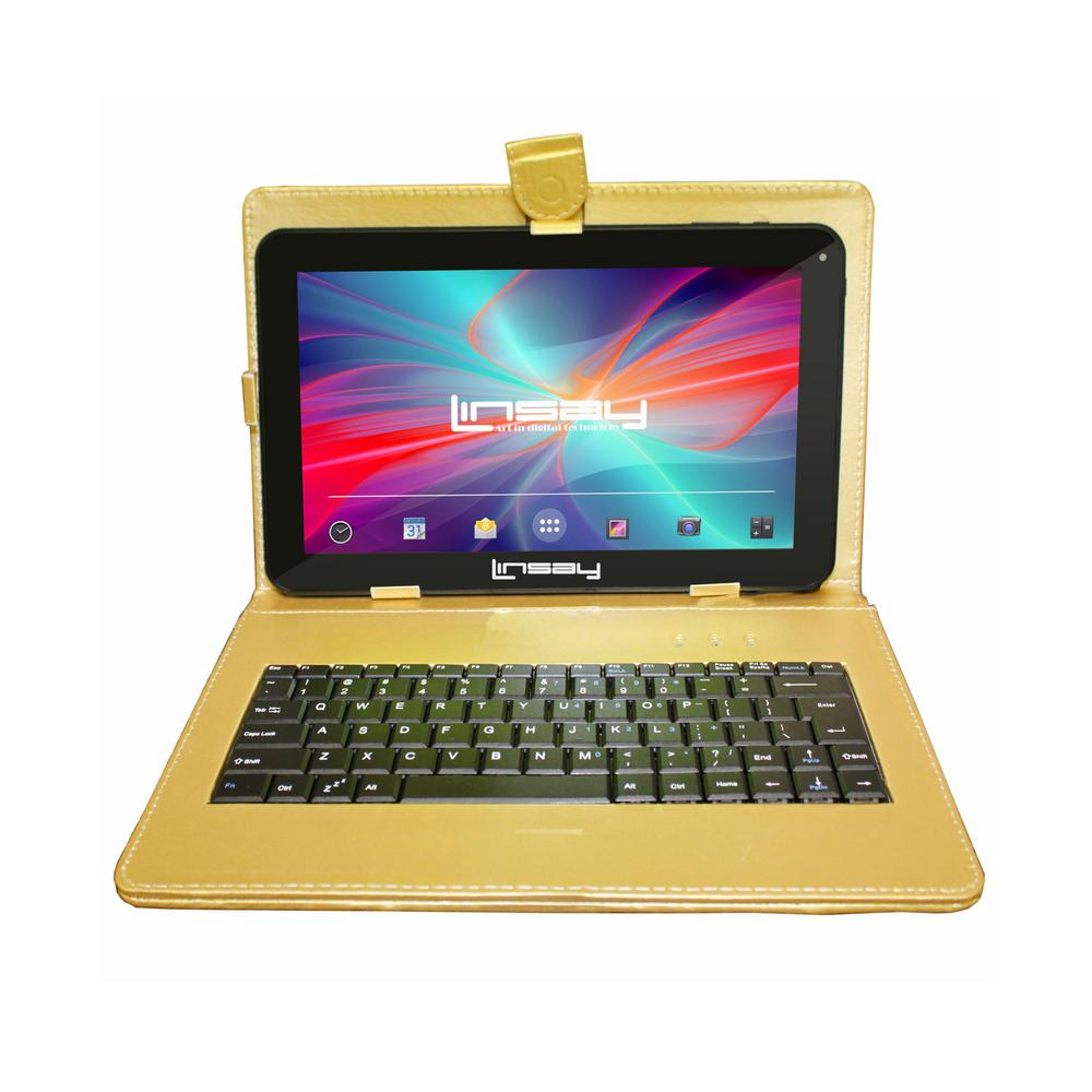 LINSAY 10.1 in. 2GB RAM 16GB Android 9.0 Pie Quad Core Tablet with Golden Keyboard was $189.99 now $89.99 (53.0% off)