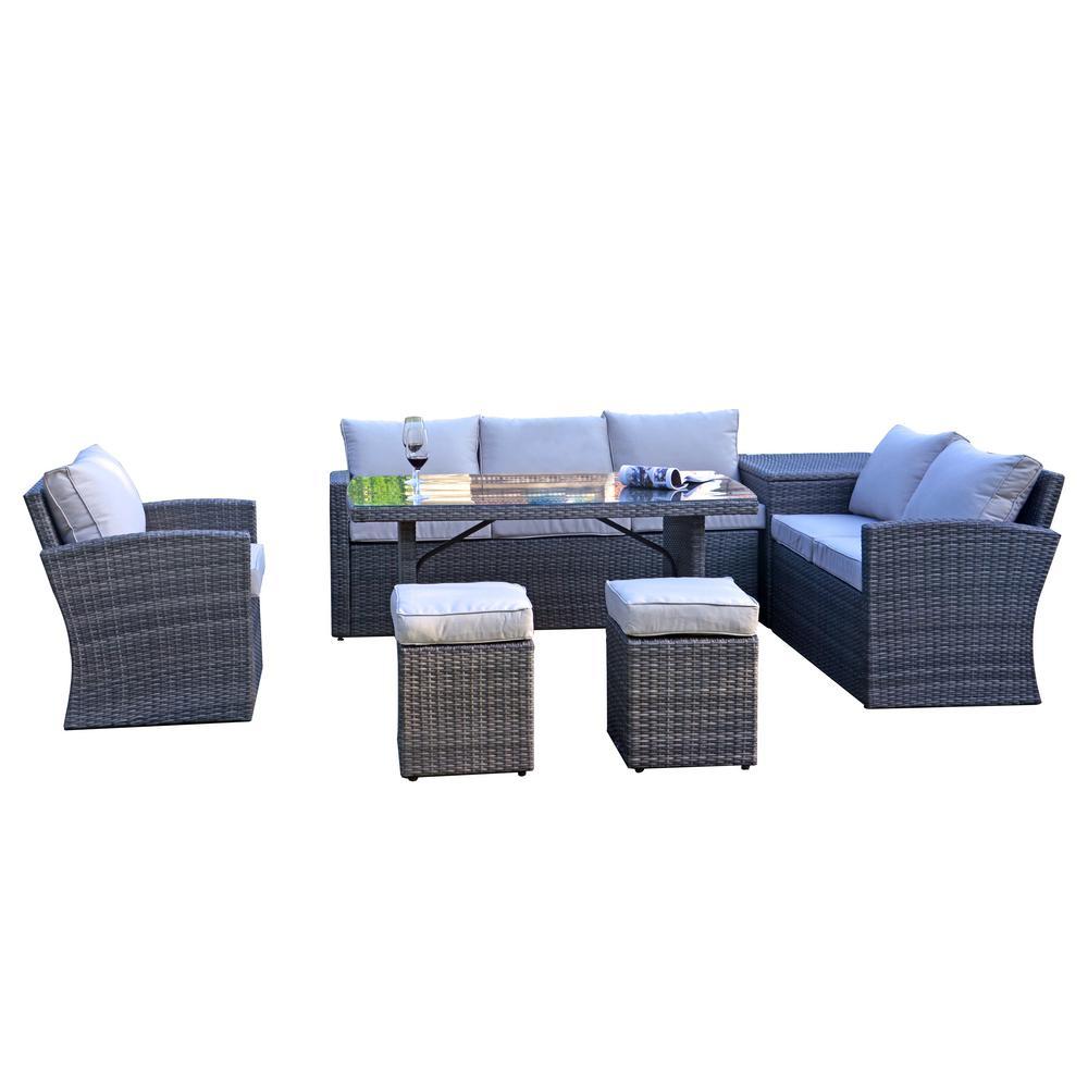Fraser 7-Piece Gray Wicker Patio Conversation Set with Beige Cushions