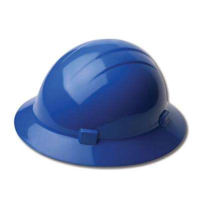 4 Point Nylon Suspension Slide-Lock Full Brim Hard Hat in Blue