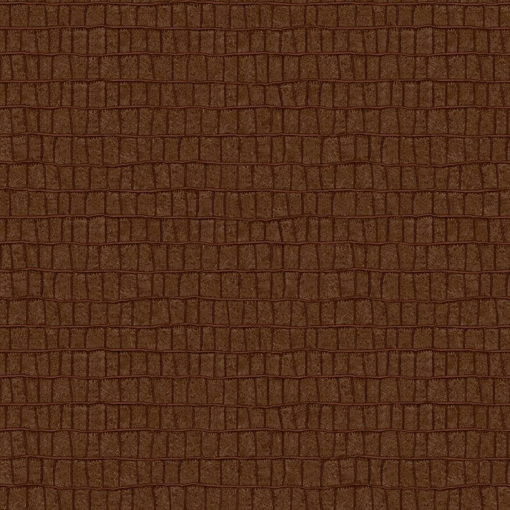 The Wallpaper Company 56 sq. ft. Chocolate Crocodile Leather Wallpaper-DISCONTINUED