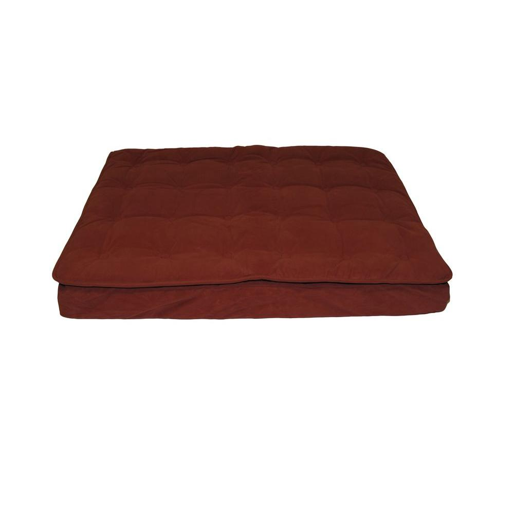 Carolina Pet Company Medium Earth Red Luxury Pillow Top Mattress Bed Treat your pet to well-deserved sleep. This pet bed is the perfect resting spot. The soft, plush cashmere microfiber top is comfortable and easily removed for wash day. Its 4 in. foam base holds the bed in place and allows it to retain its shape.