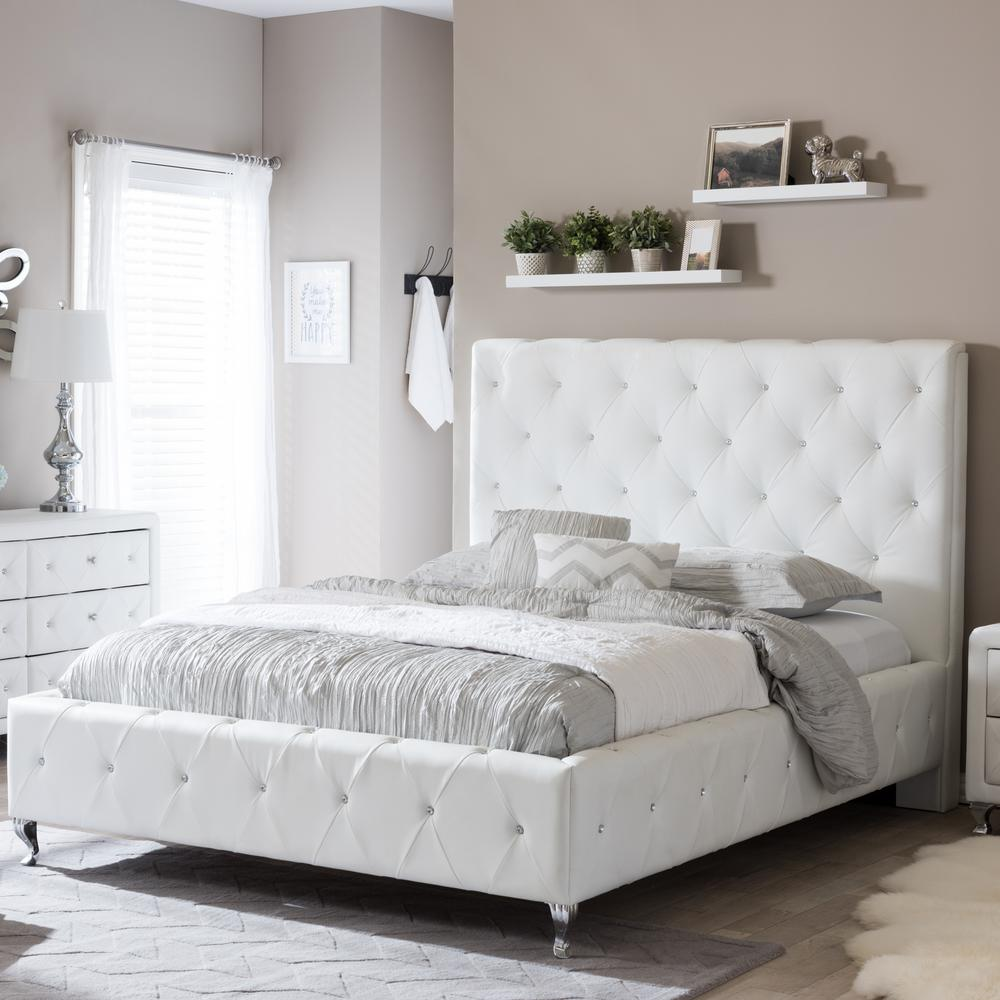 Queen Size Bed.Stella Transitional White Faux Leather Upholstered Queen Size Bed
