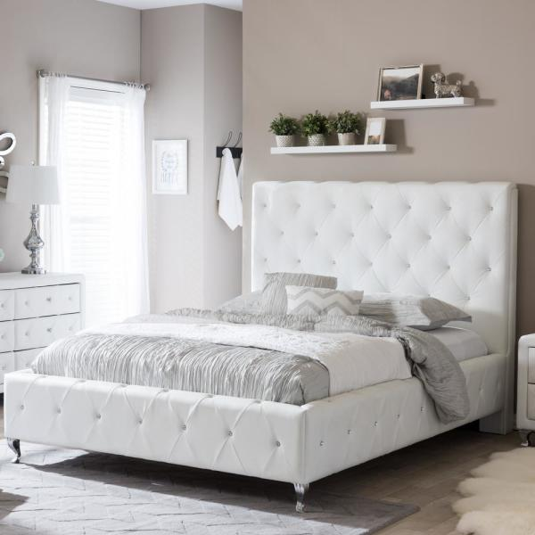 c6b1e9a74c262a Baxton Studio Stella Transitional White Faux Leather Upholstered Queen Size  Bed