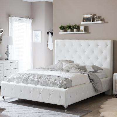 Stella Transitional White Faux Leather Upholstered King Size Bed