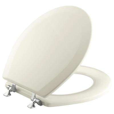 Triko Molded Toilet Seat, Round, Closed-Front with Cover and Polished Chrome Hinge in Biscuit