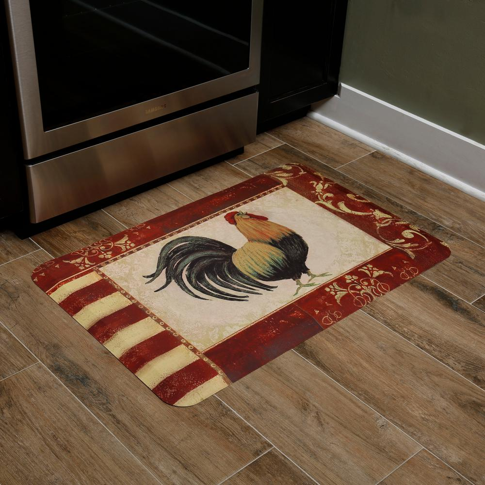 Home Dynamix Designer Chef Rooster 18 in. x 30 in. Anti-Fatigue Kitchen Mat