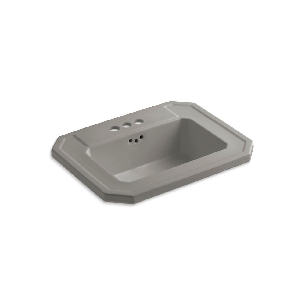 KOHLER Kathryn Drop-In Vitreous China Bathroom Sink in Cashmere with Overflow Drain