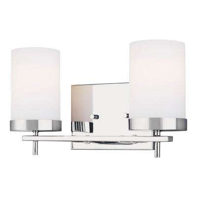 Zire 14 in. W 2-Light Chrome Vanity Light with Etched White Glass Shades