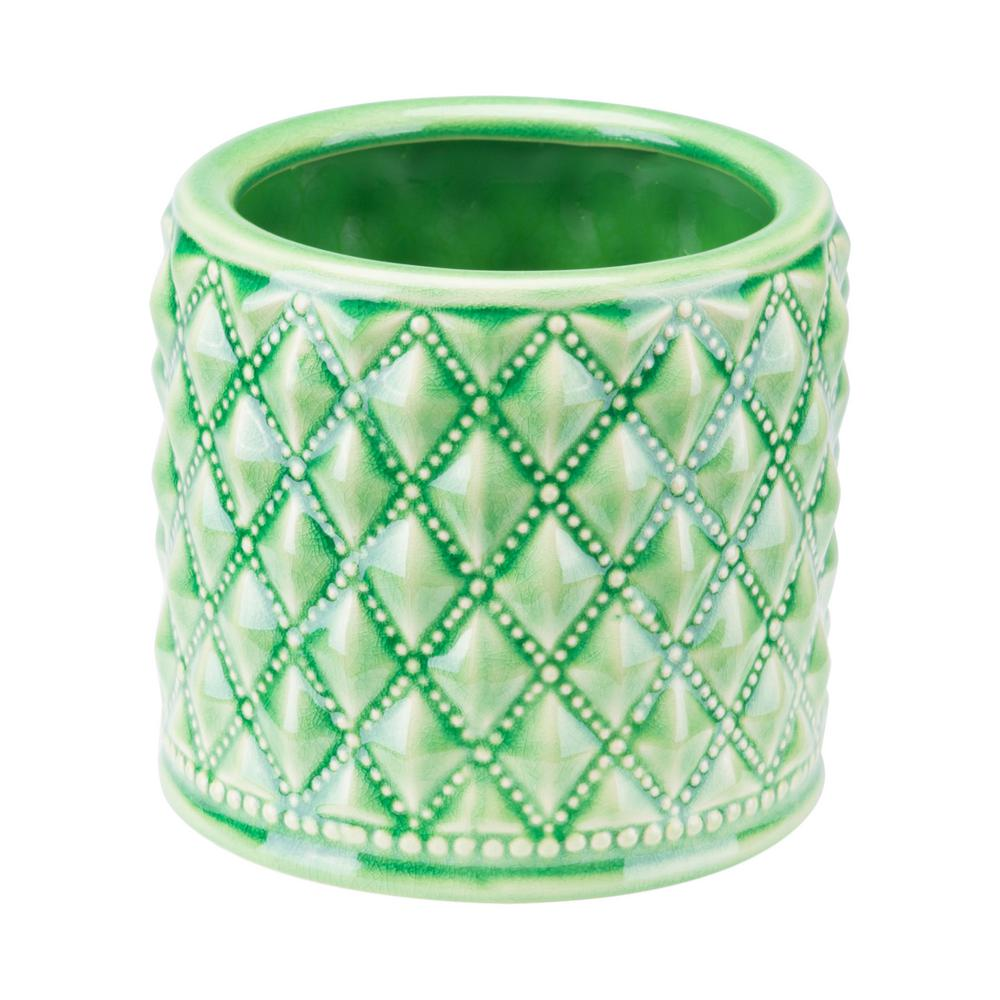 Zuo Tufted 5 8 In W X 5 4 In H Jade Green And Gray Ceramic Planter