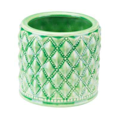 Tufted 5.8 in. W x 5.4 in. H Jade Green and Gray Ceramic Planter