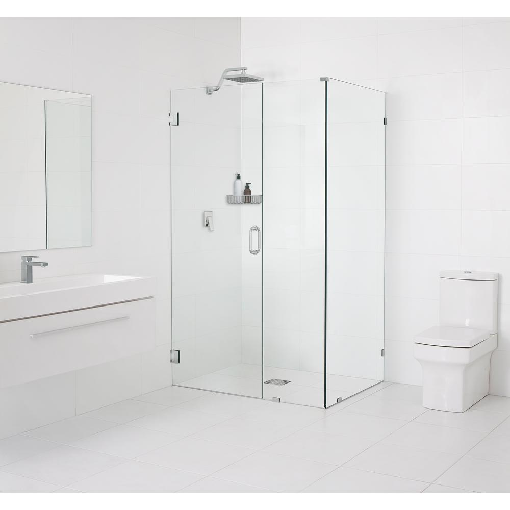 Glass Warehouse 34.5 in. x 78 in. x 34 in. Frameless 90 Degree Hinged Wall Shower Enclosure in Chrome