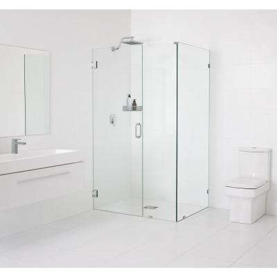 34.5 in. x 78 in. x 34 in. Frameless 90 Degree Hinged Wall Shower Enclosure in Chrome