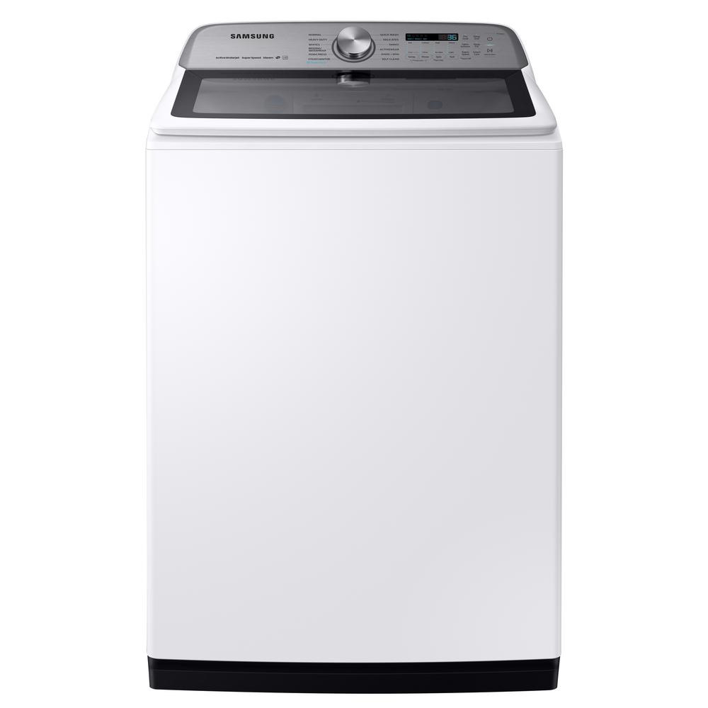 Samsung 5.4 cu. ft. High-Efficiency White Top Load Washing Machine with Super Speed and Steam, ENERGY STAR