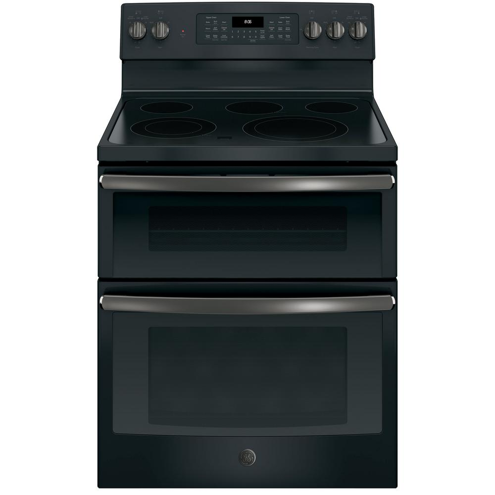 Ge 6 Cu Ft Double Oven Electric Range With Self Cleaning And Convection Lower In Black Slate