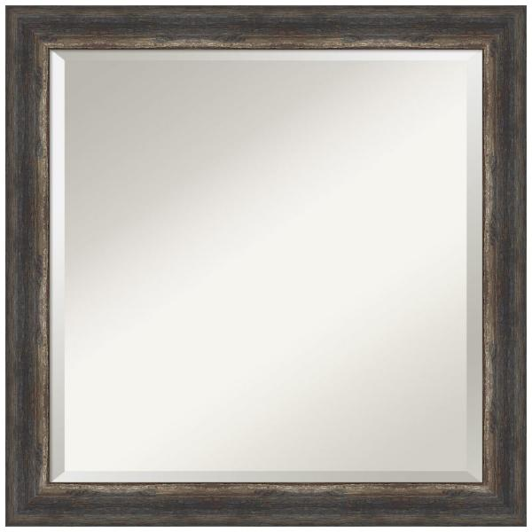 Medium Square Bark Rustic Char Beveled Glass Casual Mirror (23.5 in. H x 23.5 in. W)