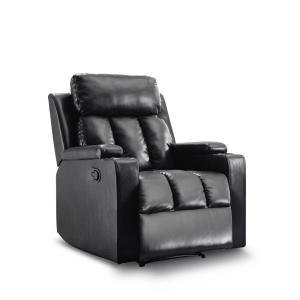 Deals on Ottomanson Black Leatherette Cozy Recliner with Cupholders