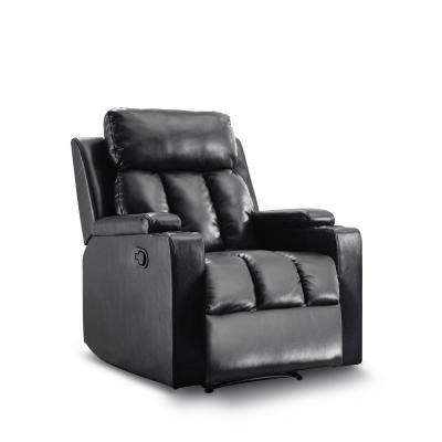 Black Leatherette Cozy Recliner with Cupholders