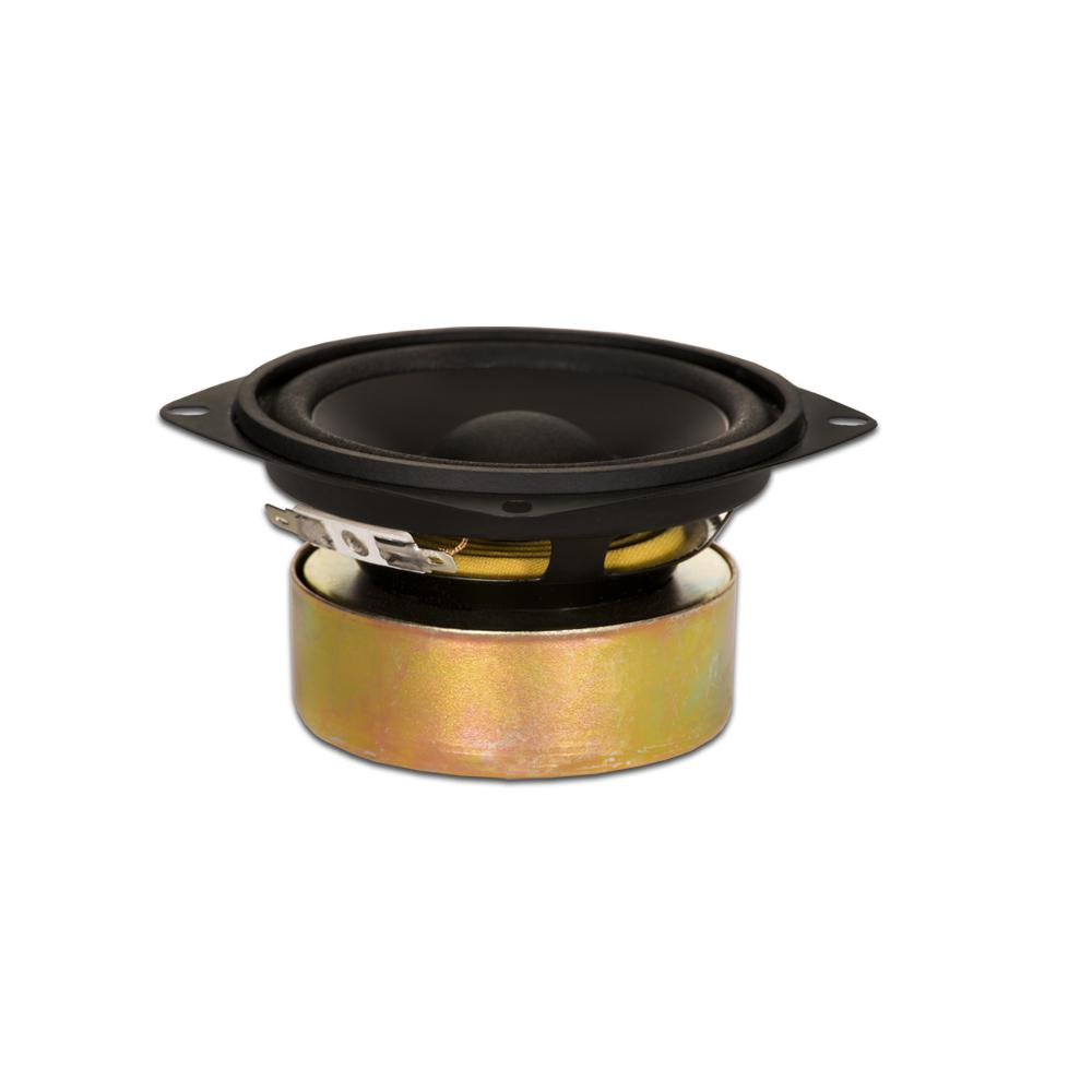 Shielded 4 in. Woofer 70-Watt 8 ohm Replacement Speaker This Goldwood Sound 8 ohm 4 in. driver has a maximum wattage of 70-Watt and is designed and engineered right here. This woofer features a 10 oz. shielded magnet with rolled foam surround and poly laminated cone. This woofer is a high end, pro audio transducer optimized for all musical instrument, DJ, car audio and professional applications.
