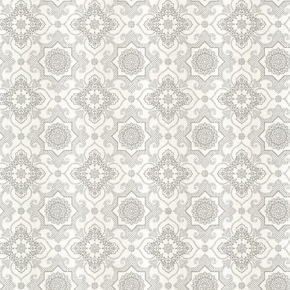 Lattice Wallpaper: Kenneth James Tendilla Light Grey Lattice Wallpaper Sample