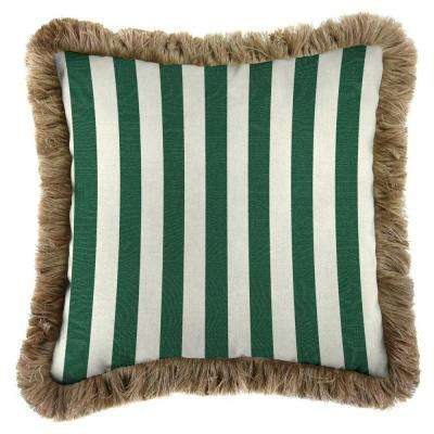 Sunbrella Mason Forest Green Square Outdoor Throw Pillow with Heather Beige Fringe