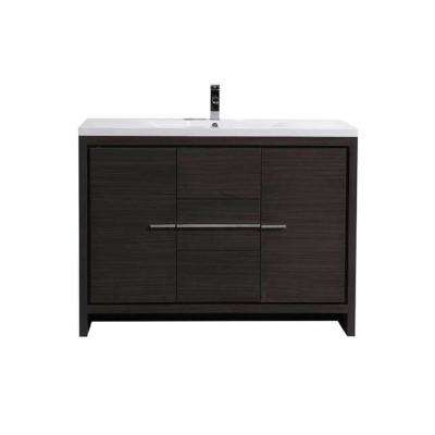Dolce 48 in. W Bath Vanity in Dark Gray Oak with Reinforced Acrylic Vanity Top in White with White Basin