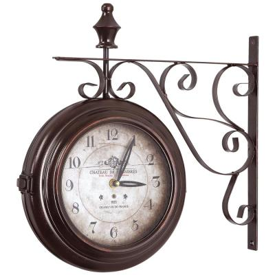 16 in. Double Sided Iron Wall Clock in Black Frame