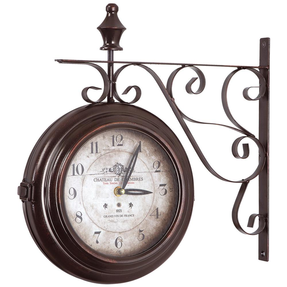 16 in double sided iron wall clock