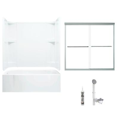 Accord 30 in. x 60 in. x 72 in. Bath and Shower Kit with Left-Hand Drain in White and Chrome