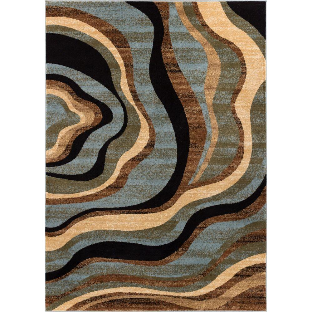 Barclay Nirvana Waves Multi/Blue 2 ft. x 4 ft. Modern Area Rug