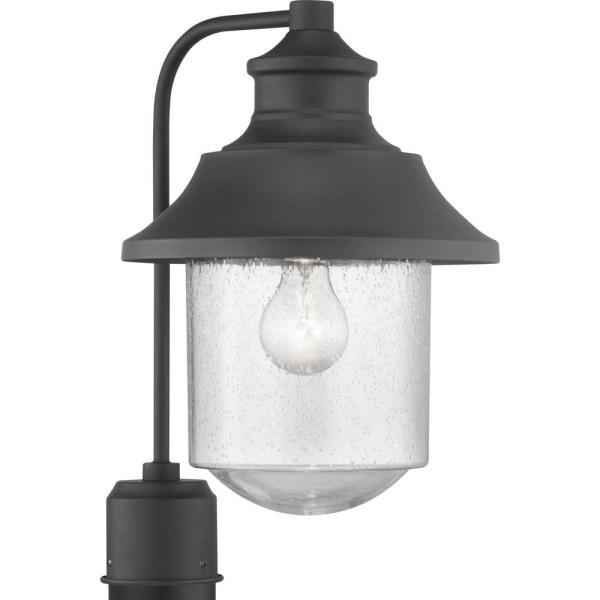 Lakelynn 1-Light Textured Black Outdoor Post Lantern with Clear Seeded Glass
