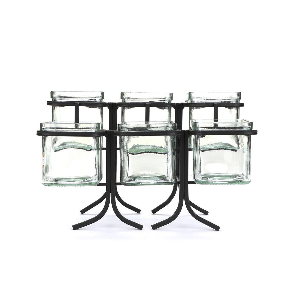 48 oz. 6-Compartment Black Metal Condiment Server Jar Stand, Garnish Station for Restaurant, Bars, Removable Jars