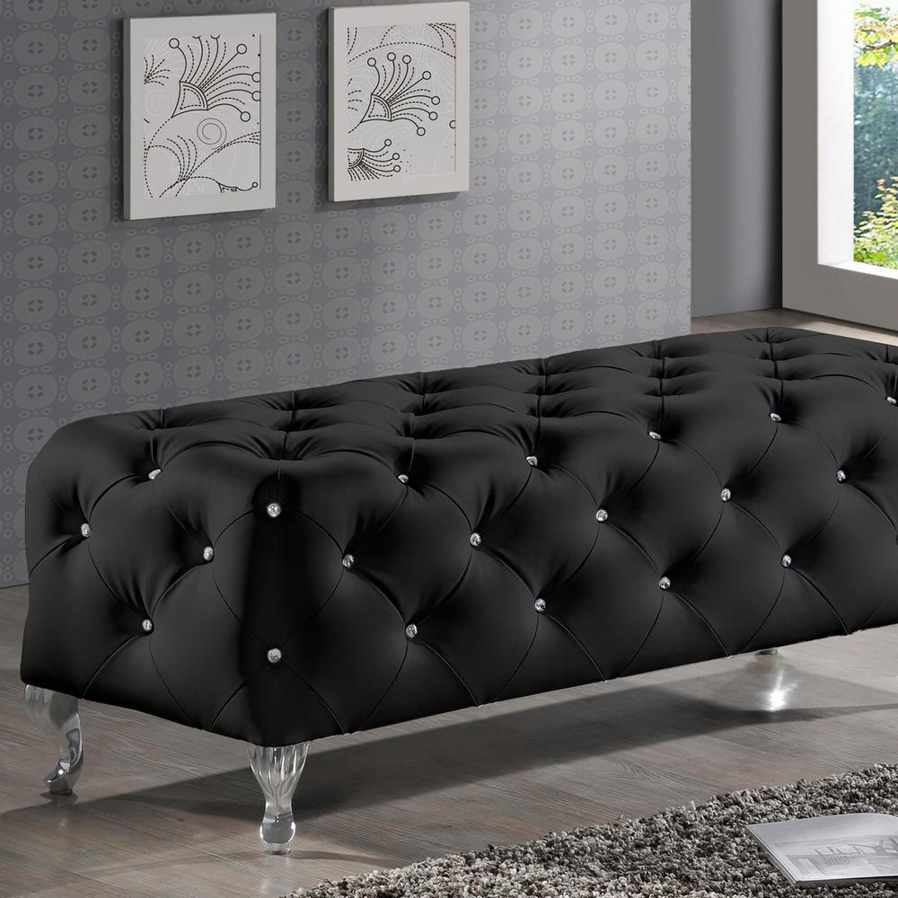 Stella Glam Black Faux Leather Upholstered Ottoman