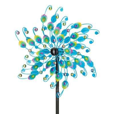 24 in. Rotating Wind Spinner Jeweled Peacock