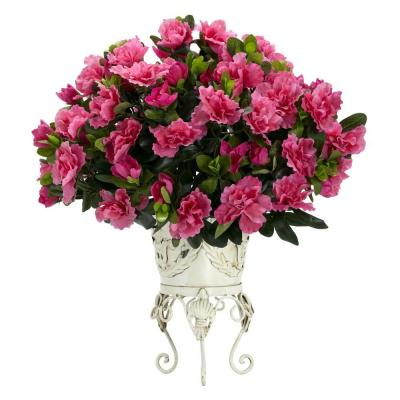 19 in. H Pink Azalea with Metal Planter Silk Plant