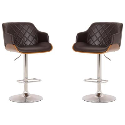 Elijah Adjustable Brown Barstool Set of 2