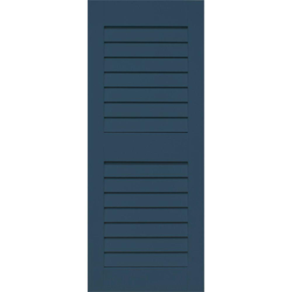 Home Fashion Technologies 14 in. x 35 in. Louver/Louver Behr Night Tide Solid Wood Exterior Shutter