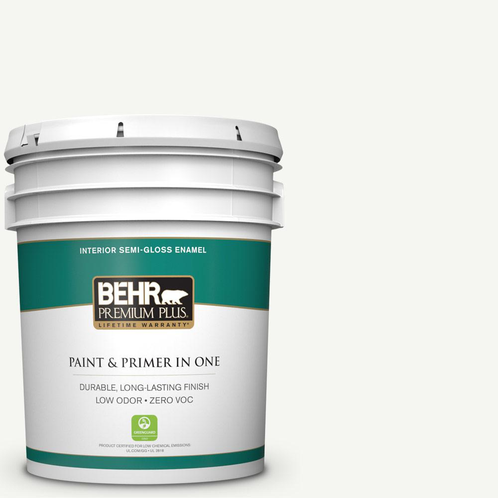 5 gal. #HDC-CT-18G Cotton Ball Zero VOC Semi-Gloss Enamel Interior Paint