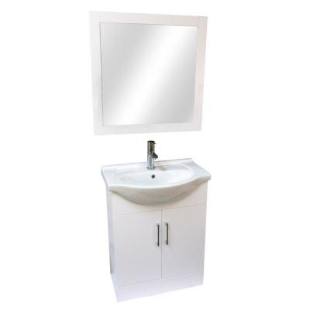 """26"""" W x 18"""" D x 33"""" H Vanity in Pearl White Wood with Ceramic Vanity Top"""