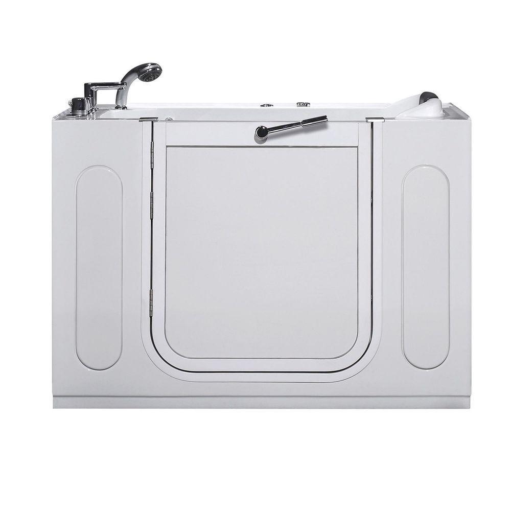 WT622 Left Drain 4.58 ft. Walk-In Whirlpool Bath Tub in White
