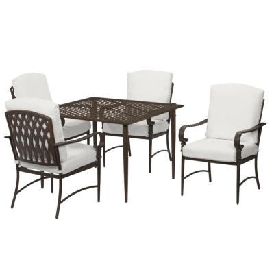 Oak Cliff Brown 5-Piece Steel Outdoor Patio Dining Set with CushionGuard Chalk White Cushions
