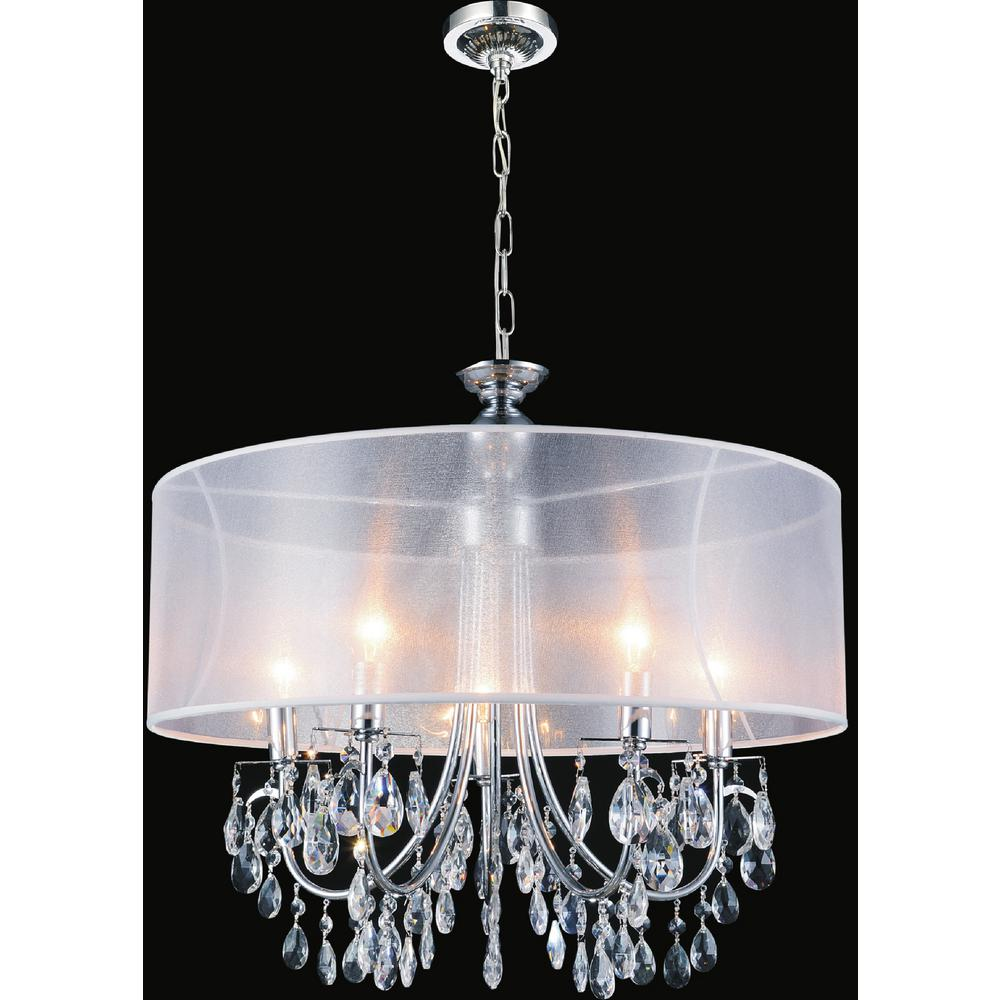 CWI Lighting Halo 8 Light Chrome Chandelier with