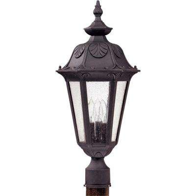Ore 3-Light Outdoor Satin Iron Large Post Lantern with Seeded Glass