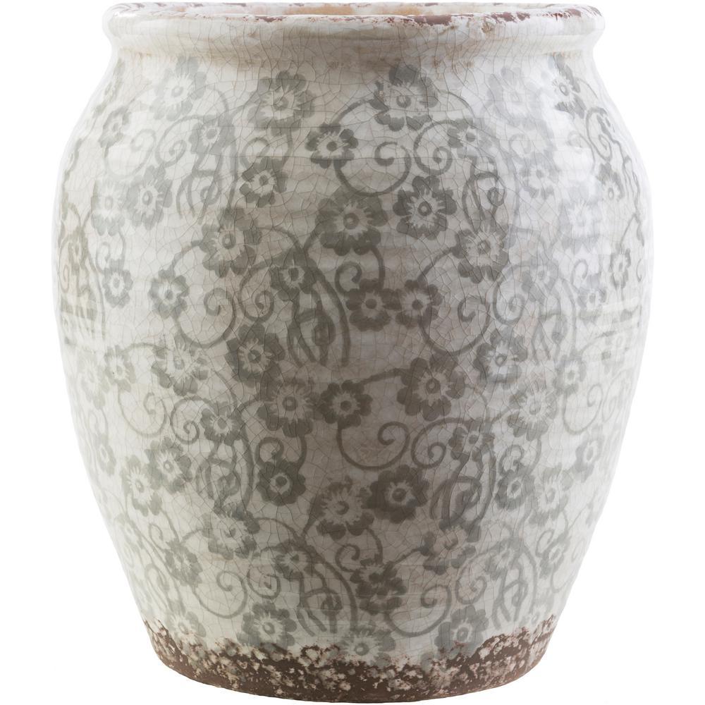 Marcus 13 in. Ceramic Decorative Vase in Gray