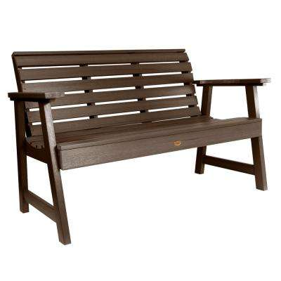 Weatherly 60 in. 2-Person Weathered Acorn Recycled Plastic Outdoor Garden Bench