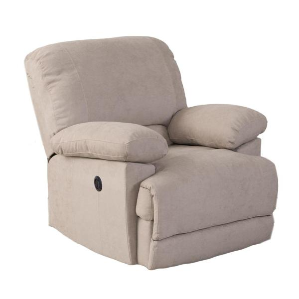 CorLiving Lea Beige Chenille Fabric Power Recliner with USB Port LZY-362-R